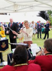 Her Royal Highness swapped places with Glenn Hayter, the Cobham Band's Conductor