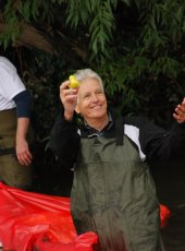 Nicholas Owen catches the winning duck