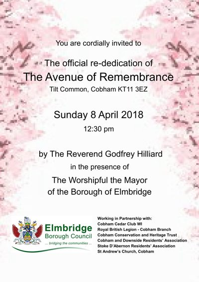 Re-dedication of the Avenue of Remembrance