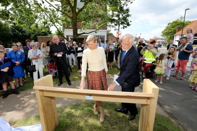 The Countess of Wessex unveils the new Riverhill information board