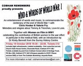 Cobham Remembers presents Wind & Words of World War I