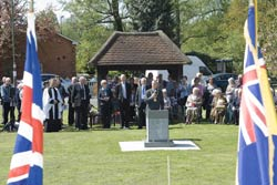 Picture of the Mayor unveiling the Memorial