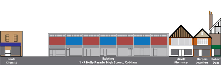 Current Front Elevation of Holly Parade, High Street, Cobham